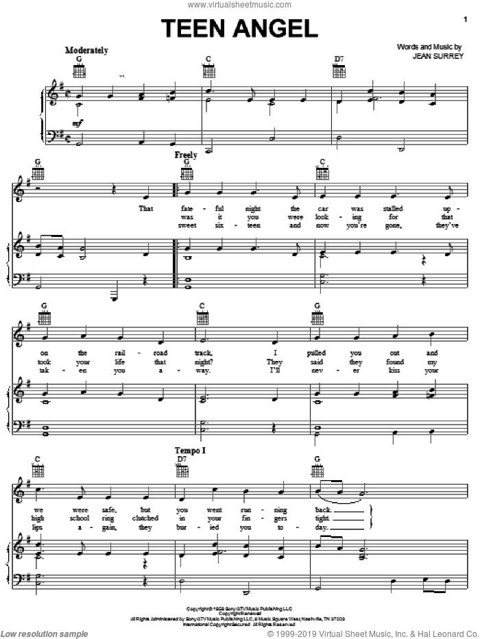Teen Angel sheet music for voice, piano or guitar by Mark Dinning and Jean Surrey, intermediate skill level