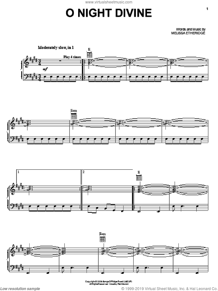 O Night Divine sheet music for voice, piano or guitar by Melissa Etheridge, intermediate skill level