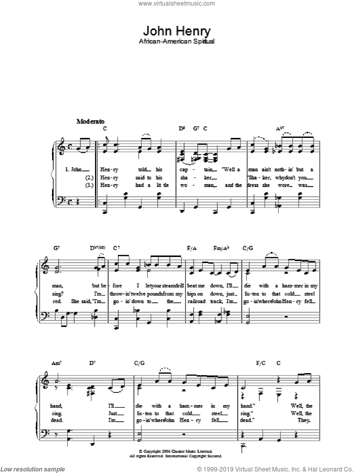 John Henry sheet music for piano solo, easy skill level