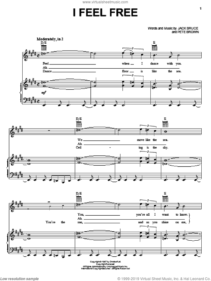I Feel Free sheet music for voice, piano or guitar by Cream, Eric Clapton, Jack Bruce and Pete Brown, intermediate skill level