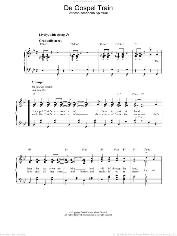 De Gospel Train sheet music for piano solo, easy skill level