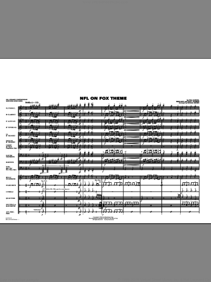 NFL On Fox (COMPLETE) sheet music for marching band by Phil Garrod, Reed Hays, Scott Schreer and Michael Brown, intermediate skill level