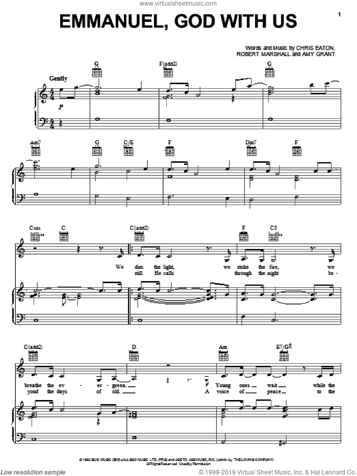 Emmanuel, God With Us sheet music for voice, piano or guitar by Amy Grant, Chris Eaton and Robert Marshall, intermediate skill level