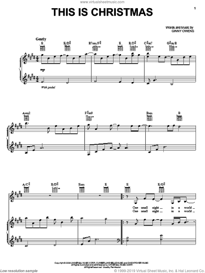 This Is Christmas sheet music for voice, piano or guitar by Ginny Owens, intermediate skill level