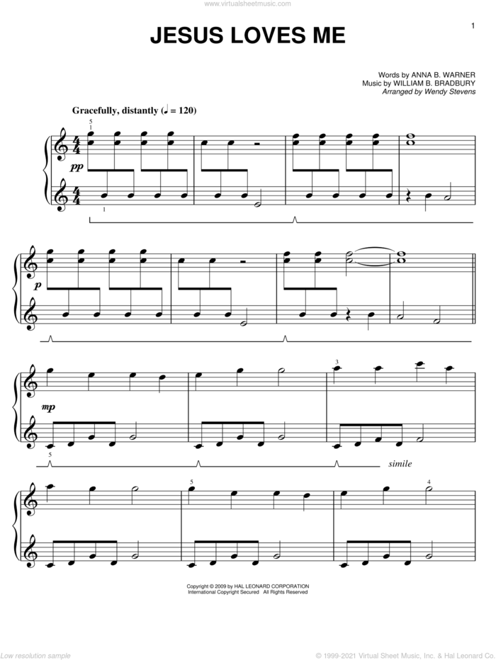 Jesus Loves Me sheet music for piano solo by Anna B. Warner, Wendy Stevens and William B. Bradbury, easy skill level