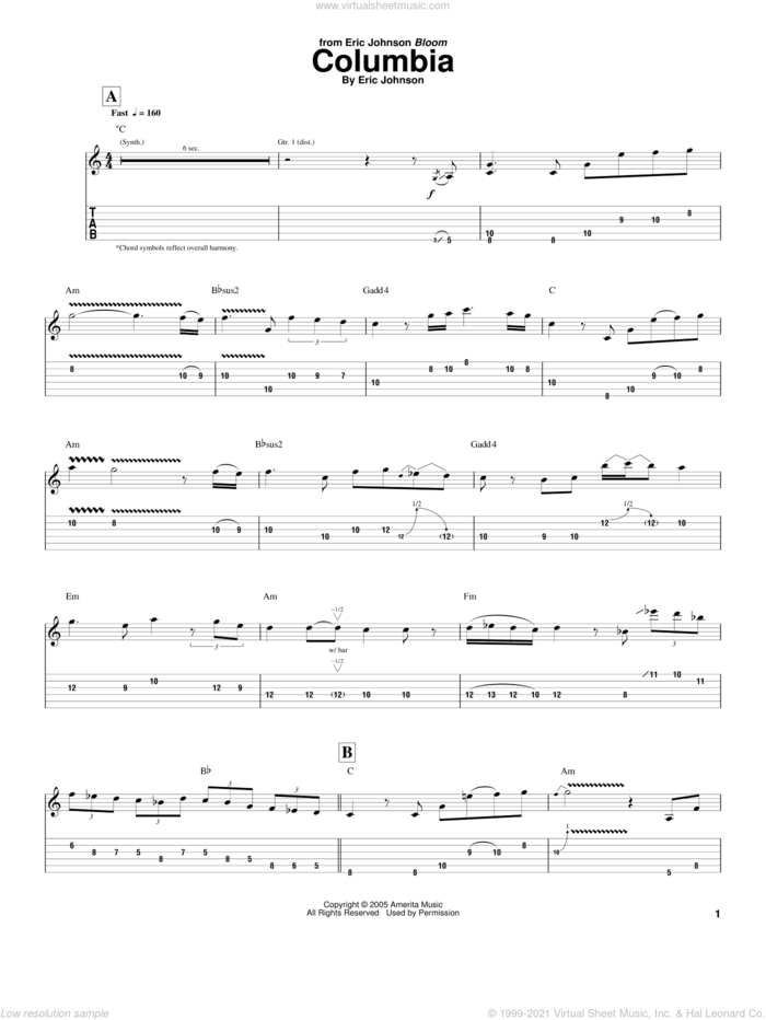 Columbia sheet music for guitar (tablature) by Eric Johnson, intermediate skill level