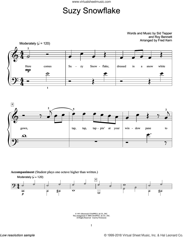 Suzy Snowflake sheet music for piano solo (elementary) by Rosemary Clooney, Fred Kern, Miscellaneous, Roy Bennett and Sid Tepper, beginner piano (elementary)