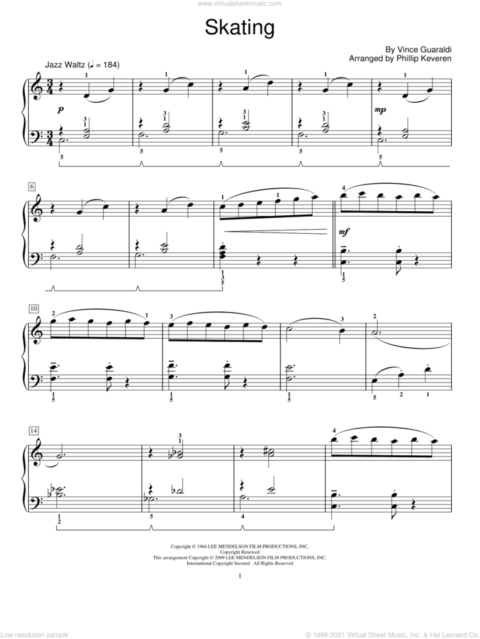 Skating sheet music for piano solo (elementary) by Vince Guaraldi, Phillip Keveren and Miscellaneous, beginner piano (elementary)