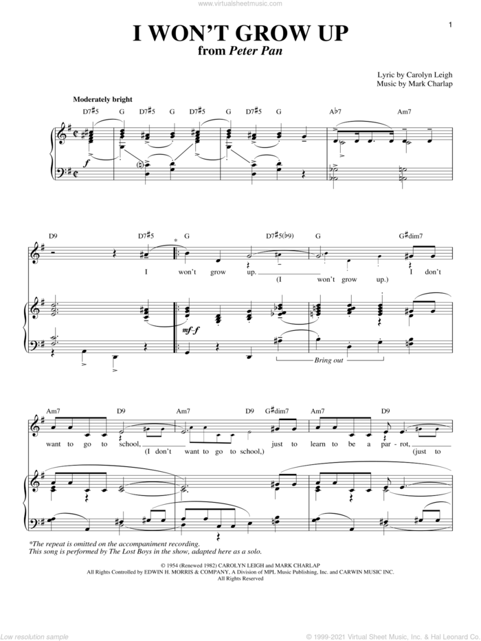 I Won't Grow Up sheet music for voice and piano by Carolyn Leigh, Peter Pan (Musical) and Mark Charlap, intermediate skill level