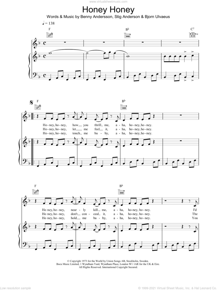 Honey, Honey sheet music for voice, piano or guitar by ABBA, intermediate skill level