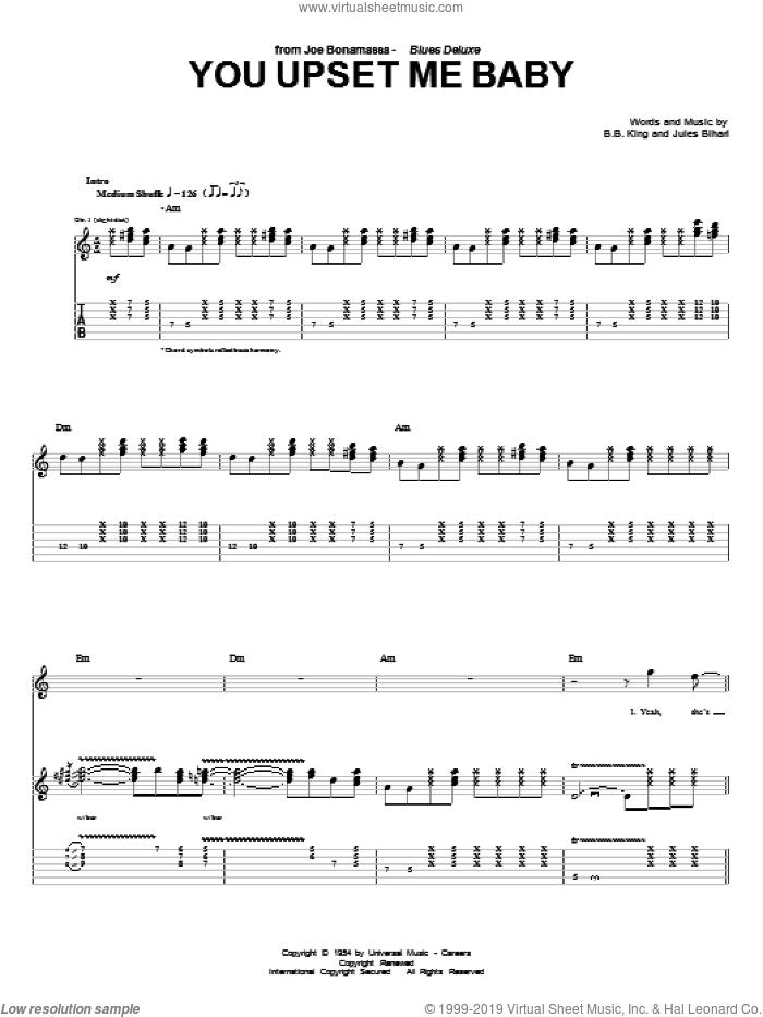 You Upset Me Baby sheet music for guitar (tablature) by Joe Bonamassa, B.B. King and Jules Bihari, intermediate skill level