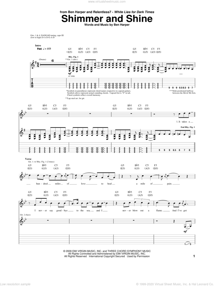 Shimmer And Shine sheet music for guitar (tablature) by Ben Harper and Relentless7 and Ben Harper, intermediate skill level