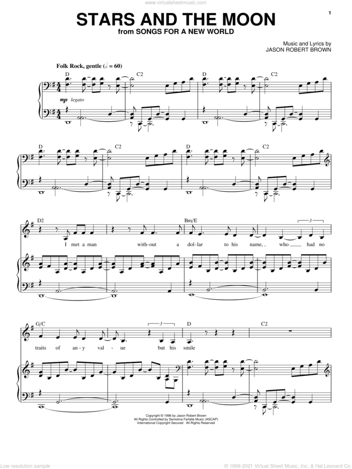 Stars And The Moon (from Songs for a New World) sheet music for voice and piano by Jason Robert Brown and Songs For A New World (Musical), intermediate skill level