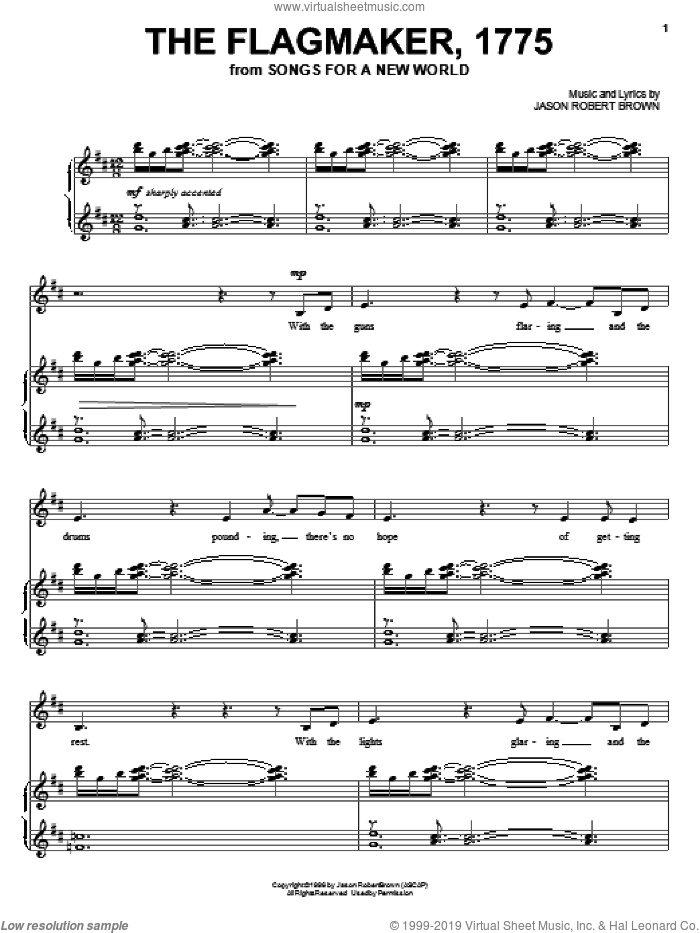 The Flagmaker, 1775 (from Songs for a New World) sheet music for voice and piano by Jason Robert Brown and Songs For A New World (Musical), intermediate skill level