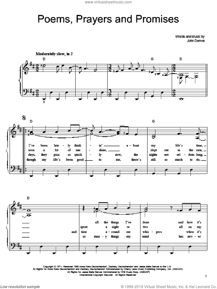 Poems, Prayers And Promises sheet music for piano solo by John Denver, easy skill level