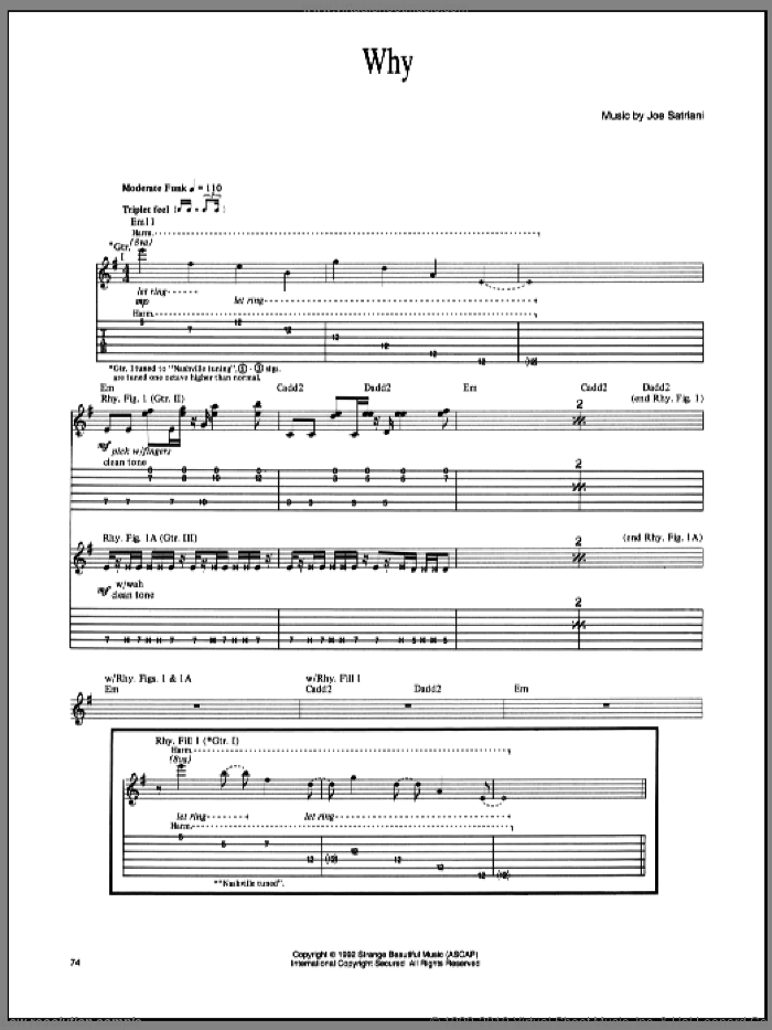 Why sheet music for guitar (tablature) by Joe Satriani, intermediate skill level