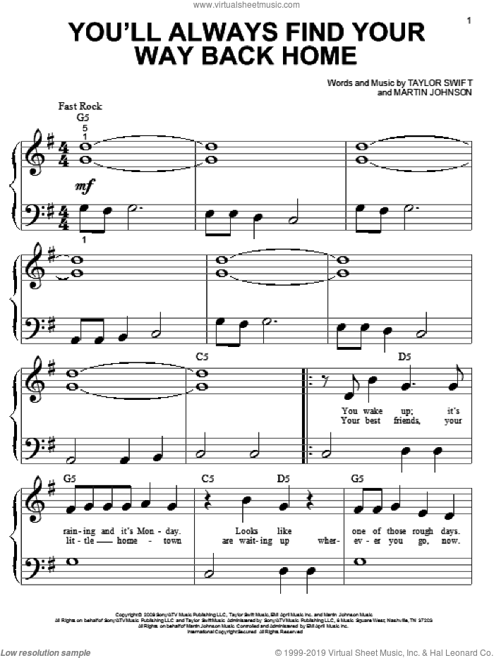 You'll Always Find Your Way Back Home sheet music for piano solo (big note book) by Hannah Montana, Hannah Montana (Movie), Miley Cyrus, Martin Johnson and Taylor Swift, easy piano (big note book)