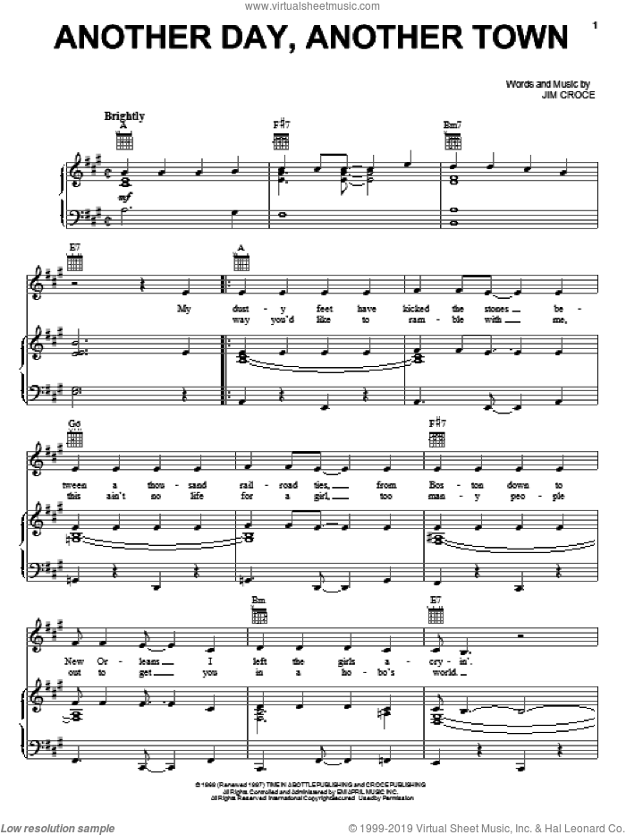 Another Day, Another Town sheet music for voice, piano or guitar by Jim Croce, intermediate skill level