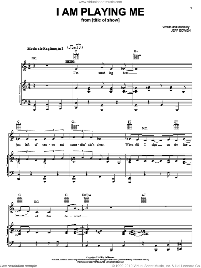 I Am Playing Me sheet music for voice, piano or guitar by Jeff Bowen, title of show (Musical) and [title of show] (Musical), intermediate skill level