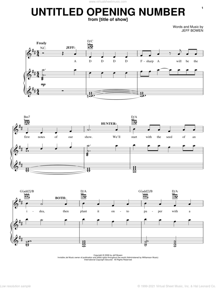 Untitled Opening Number sheet music for voice, piano or guitar by Jeff Bowen, title of show (Musical) and [title of show] (Musical), intermediate skill level