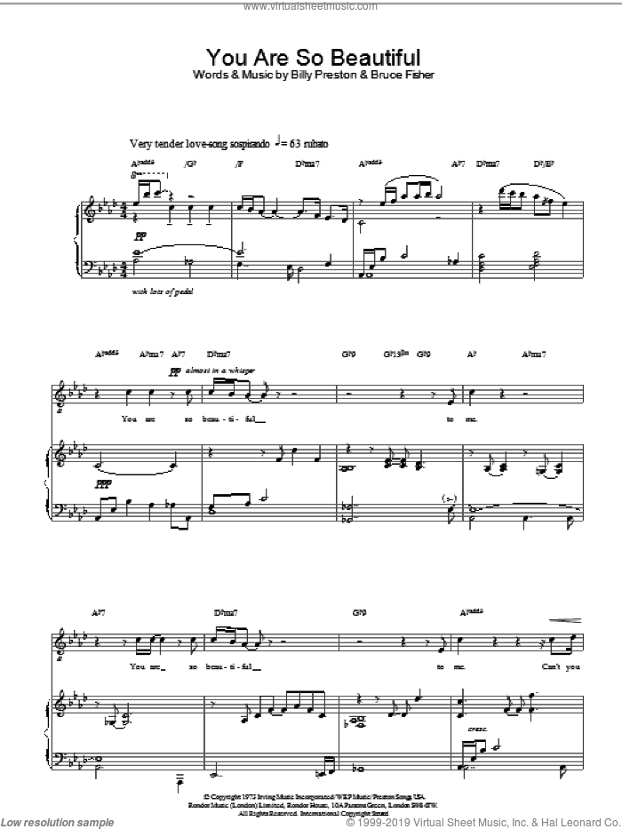 You Are So Beautiful sheet music for voice, piano or guitar by Russell Watson, classical score, intermediate skill level