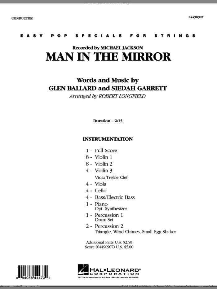 Man in the Mirror (COMPLETE) sheet music for orchestra by Glen Ballard, Siedah Garrett, Michael Jackson and Robert Longfield, intermediate skill level