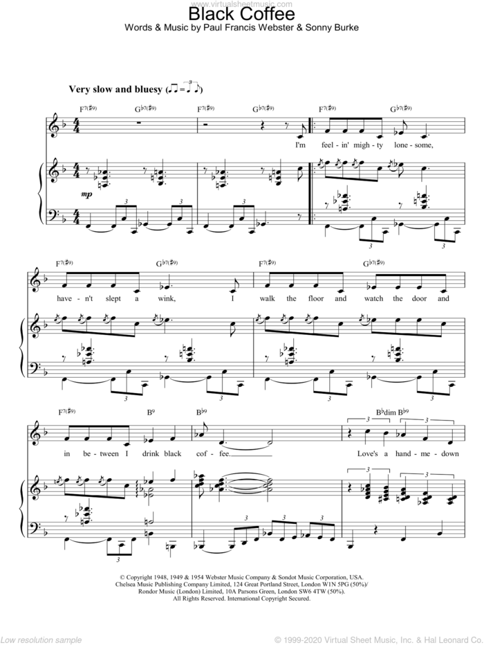 Black Coffee sheet music for voice, piano or guitar by Peggy Lee, intermediate skill level