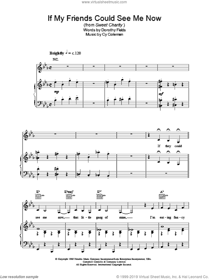 If My Friends Could See Me Now sheet music for voice, piano or guitar by Cy Coleman and Dorothy Fields, intermediate skill level