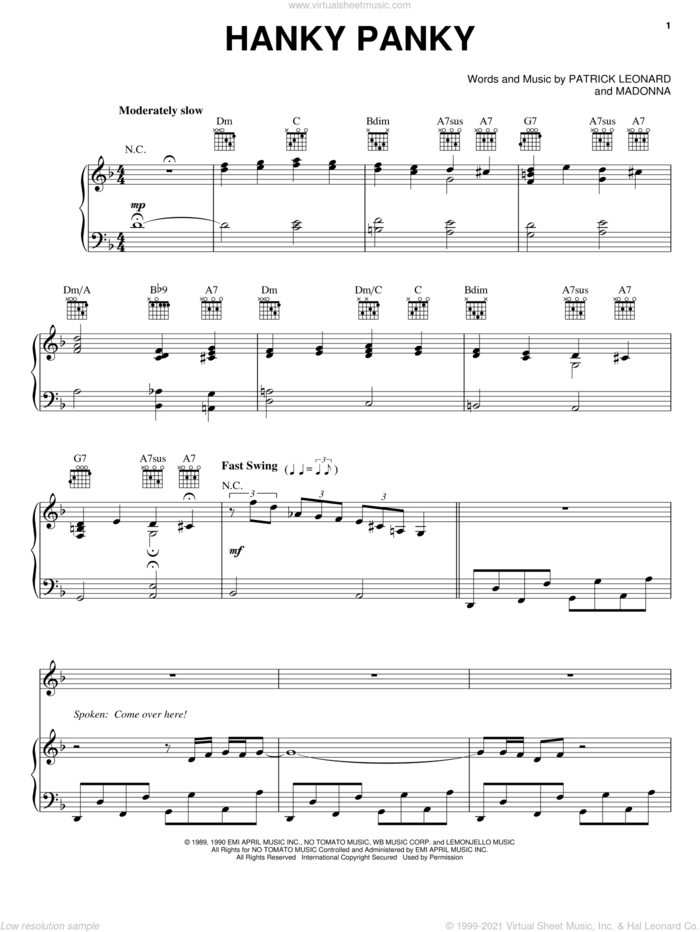 Hanky Panky sheet music for voice, piano or guitar by Madonna and Patrick Leonard, intermediate skill level