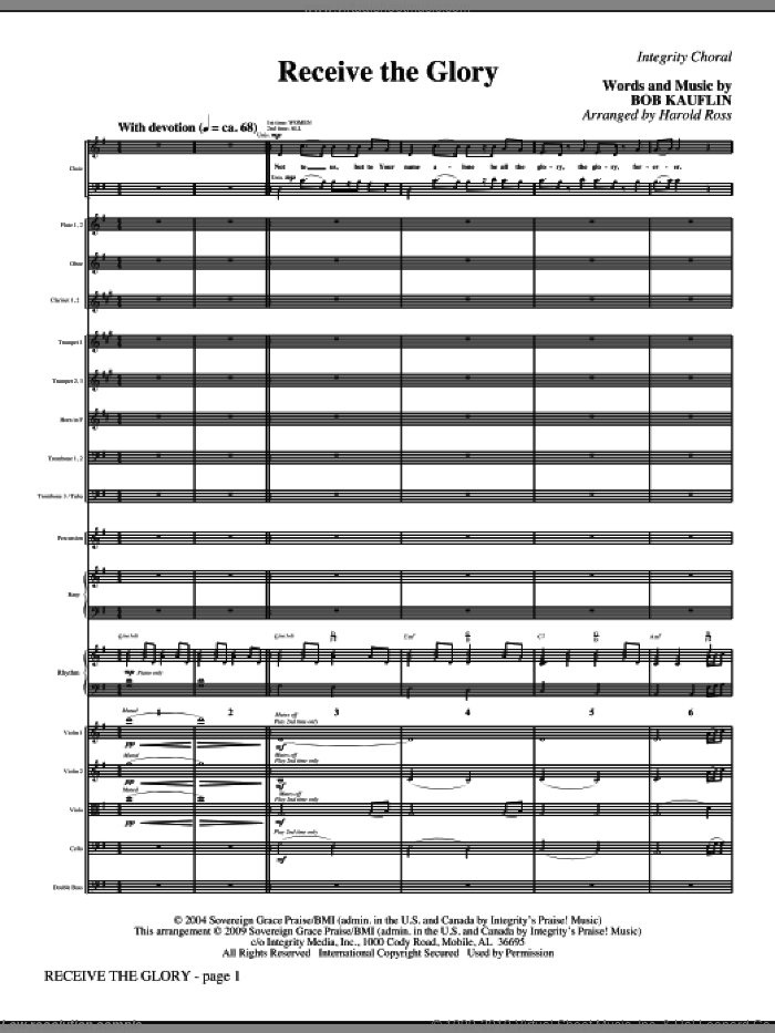 Receive The Glory (COMPLETE) sheet music for orchestra/band (Orchestra) by Harold Ross and Bob Kauflin, intermediate skill level