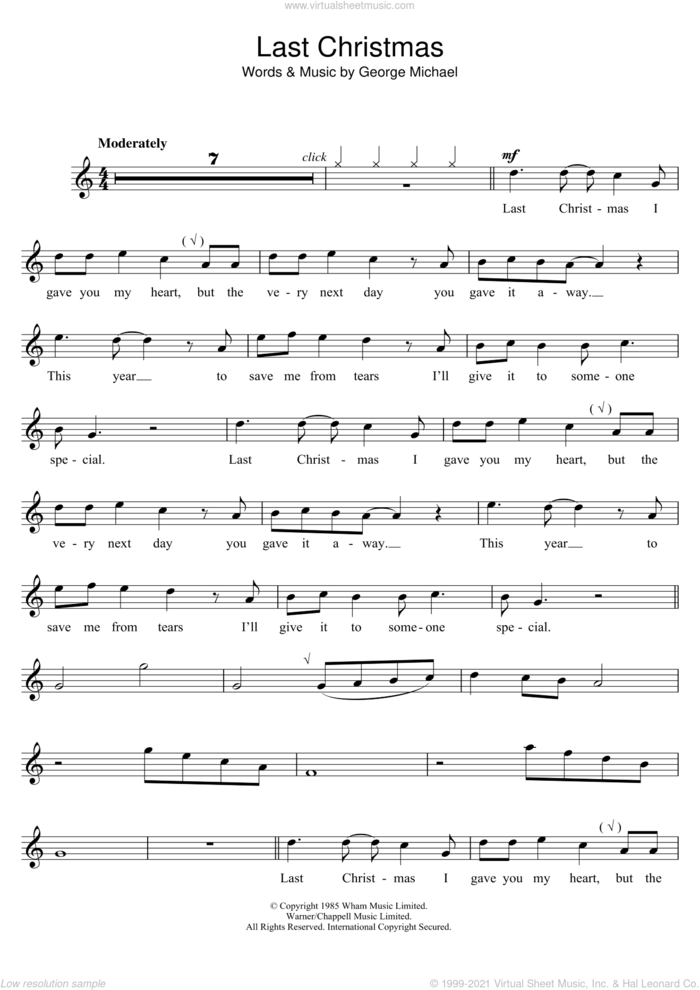 Last Christmas sheet music for voice and other instruments (fake book) by Wham! and George Michael, intermediate skill level