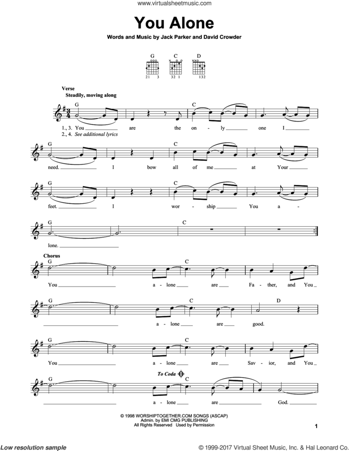You Alone sheet music for guitar solo (chords) by David Crowder and Jack Parker, easy guitar (chords)