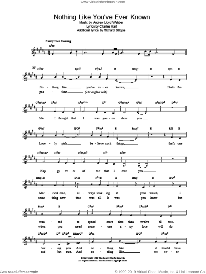 Nothing Like You've Ever Known sheet music for voice and other instruments (fake book) by Sarah Brightman, intermediate skill level