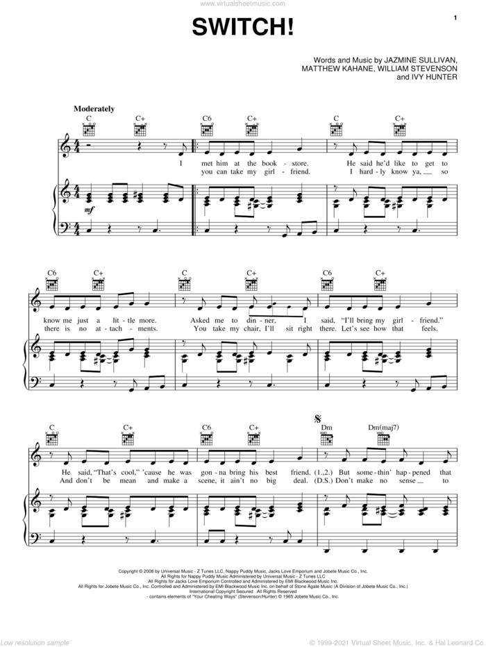 Switch! sheet music for voice, piano or guitar by Jazmine Sullivan, Ivy Hunter, Matthew Kahane and William Stevenson, intermediate skill level