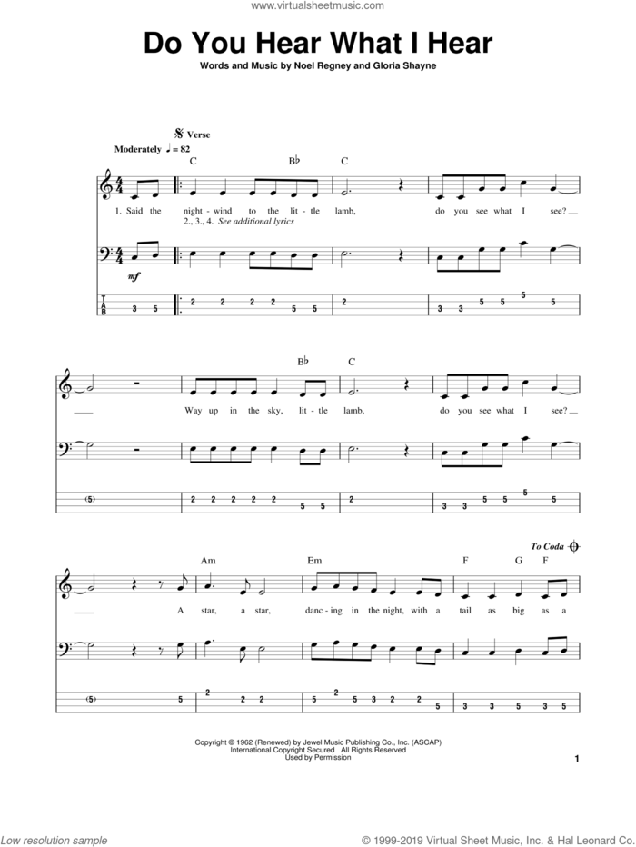 Do You Hear What I Hear sheet music for bass (tablature) (bass guitar) by Gloria Shayne and Noel Regney, intermediate skill level