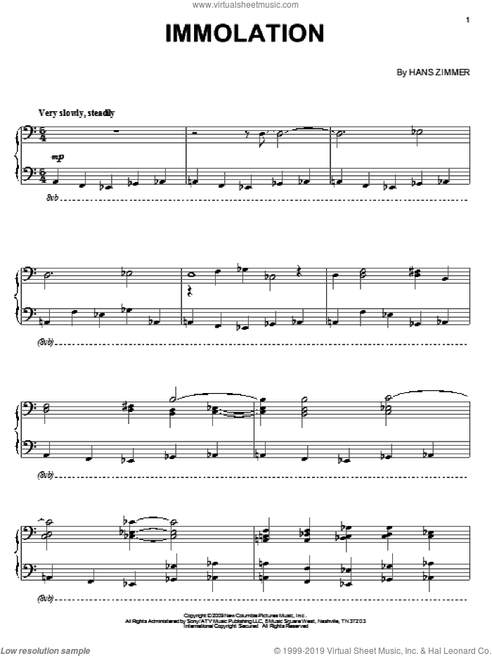 Immolation sheet music for piano solo by Hans Zimmer and Angels & Demons (Movie), intermediate skill level