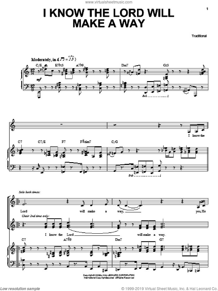 I Know The Lord Will Make A Way sheet music for voice, piano or guitar by Heather Headley and Miscellaneous, intermediate skill level