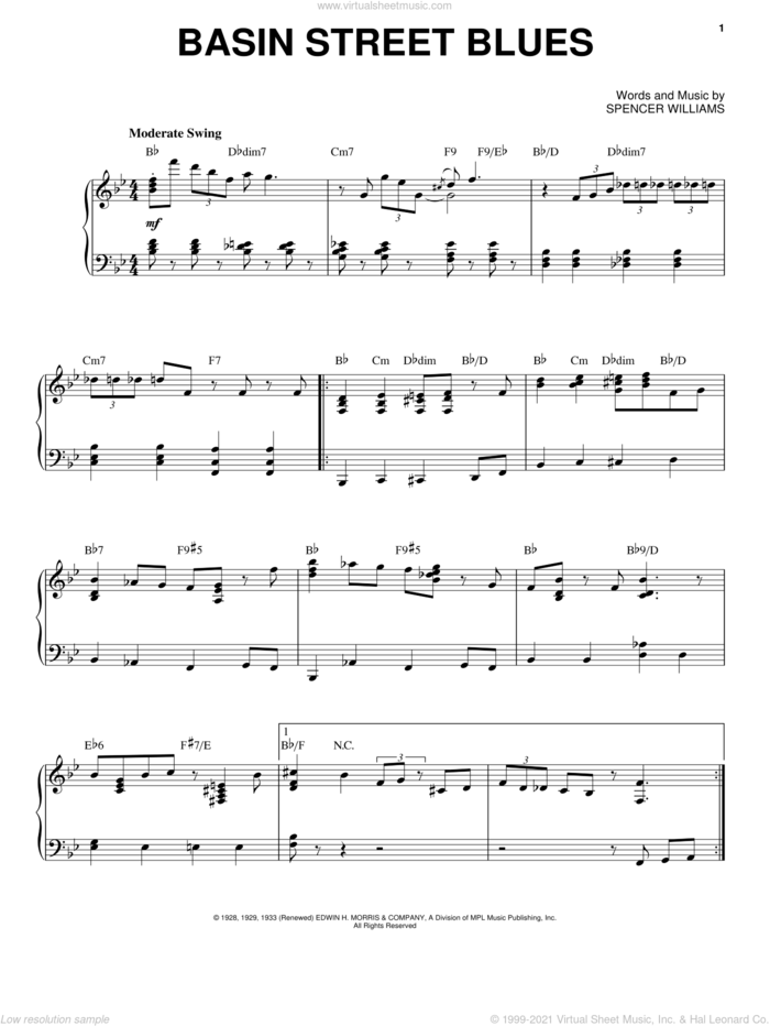 Basin Street Blues sheet music for voice and piano by Louis Armstrong and Spencer Williams, intermediate skill level