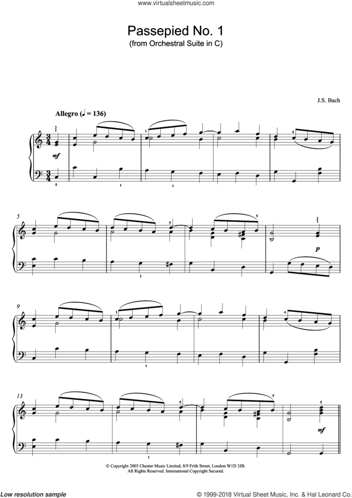 Passepied No. 1 (from Orchestral Suite in C) sheet music for piano solo by Johann Sebastian Bach, classical score, intermediate skill level