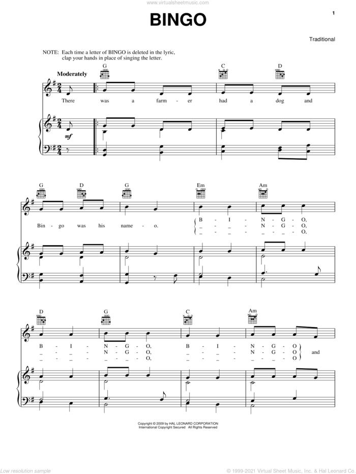 Bingo sheet music for voice, piano or guitar, intermediate skill level