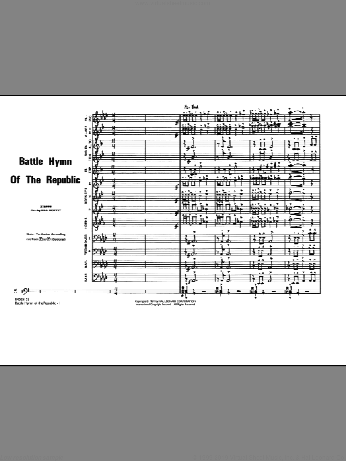 Battle Hymn Of The Republic (COMPLETE) sheet music for marching band by William Steffe, Julia Ward Howe and Bill Moffit, intermediate skill level