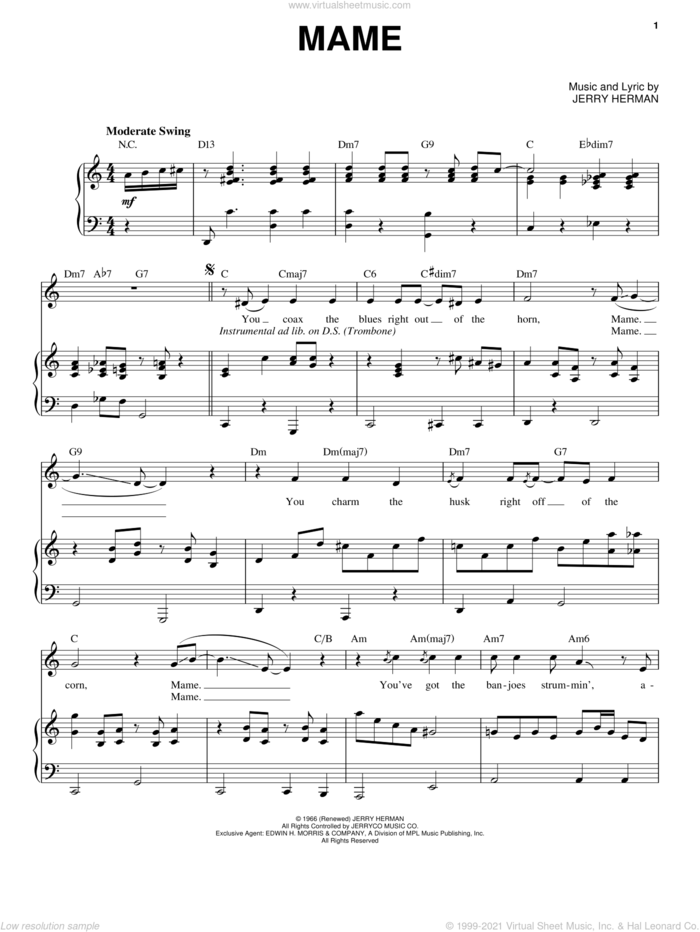 Mame sheet music for voice and piano by Louis Armstrong, Mame (Musical) and Jerry Herman, intermediate skill level