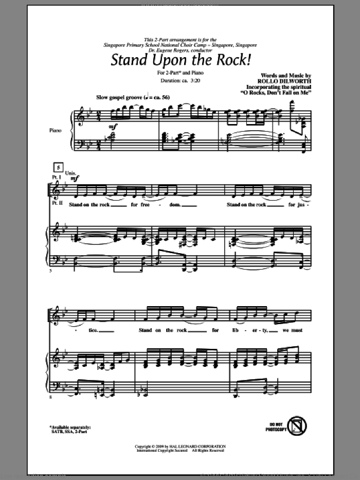 Stand Upon The Rock! sheet music for choir (2-Part) by Rollo Dilworth, intermediate duet
