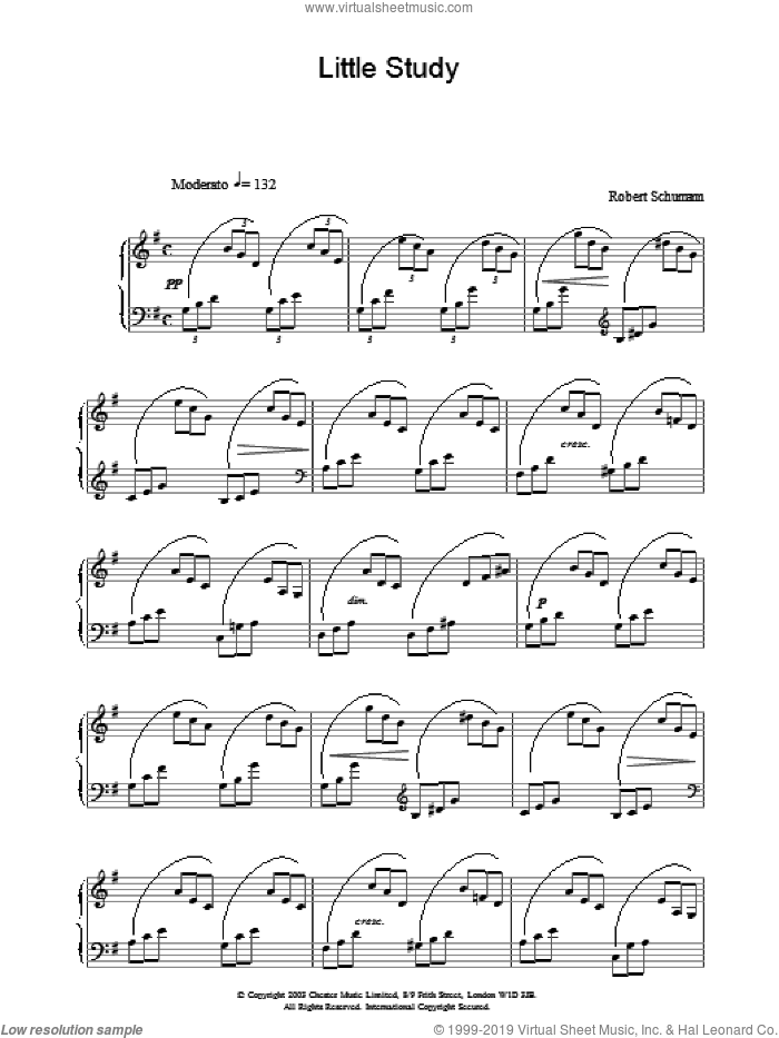 Little Study sheet music for piano solo by Robert Schumann, classical score, intermediate skill level
