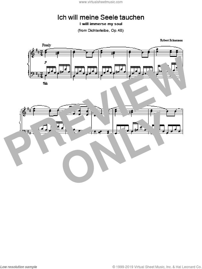 Ich will meine Seele tauchen sheet music for piano solo by Robert Schumann, classical score, intermediate skill level