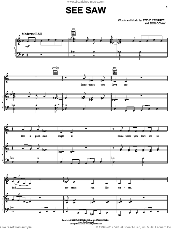 See Saw sheet music for voice, piano or guitar by Aretha Franklin, Don Cornell, The Moonglows, Don Covay and Steve Cropper, intermediate skill level
