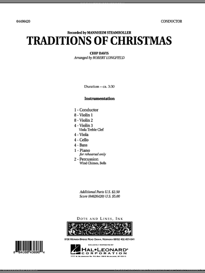 Traditions of Christmas (COMPLETE) sheet music for orchestra by Robert Longfield, Chip Davis and Mannheim Steamroller, intermediate skill level