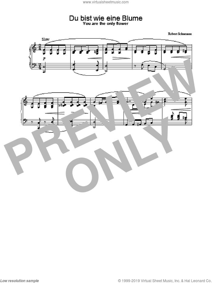 Du bist wie eine Blume sheet music for piano solo by Robert Schumann, classical score, intermediate skill level