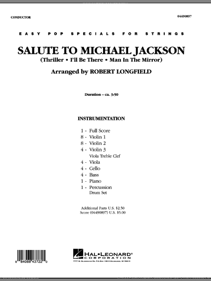 Salute to Michael Jackson (COMPLETE) sheet music for orchestra by Michael Jackson and Robert Longfield, intermediate skill level