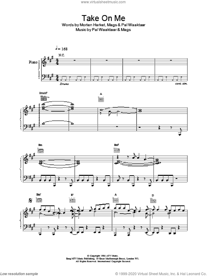 Take On Me sheet music for voice, piano or guitar by a-ha, Magne Furuholmne, Morton Harket and Pal Waaktaar, intermediate skill level
